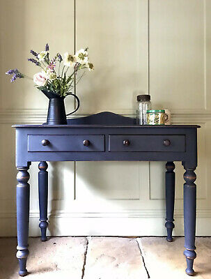 Antique Victorian Painted Navy Writing Desk Console Hall Dressing Side Table
