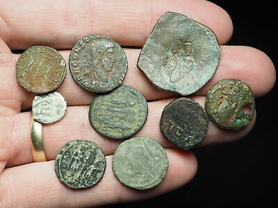Lot of 9 assorted ancient coins, Greek, Roman, Byzantine, + silver Islamic