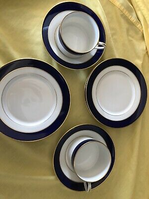 Tiffany & Co. China Limoges France Blue 2 Gold Cups 2 Saucers & 4 Dessert Plates