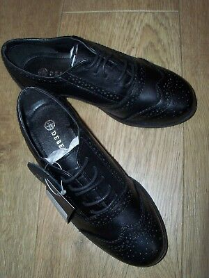 NEW DEBENHAMS Girls Leather Brogue School Shoes Size UK 10 or 11 Available