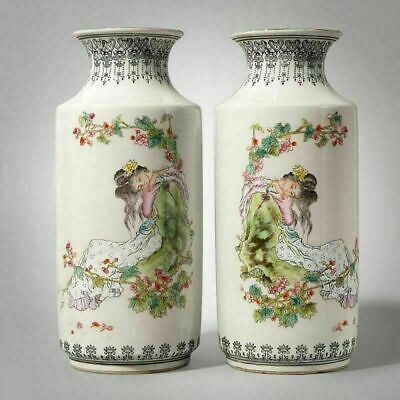 Pairs Of Chinese Classical Porcelain Vases Hand Painting Figures Marks Qianlong
