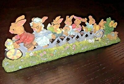Easter Bunny Family Riding a Bike Bicycle Figurine