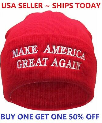 Donald Trump MAGA Winter Knit Red Beanie Hat Make America Great Again Warm Cap