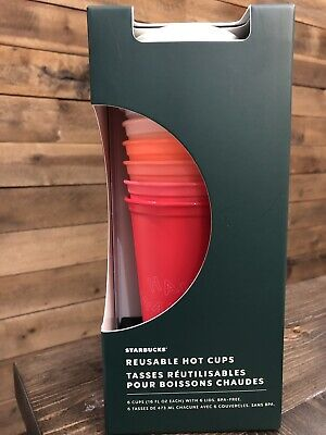 Starbucks Holiday Christmas 2019 Reusable Hot Cups - 6 Cups With 6 Lids - 16 Oz