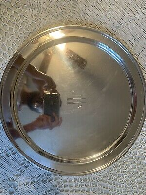"""Tiffany & Co Makers Large 15"""" Sterling Silver Deco Style Round Tray 1200 Grams"""