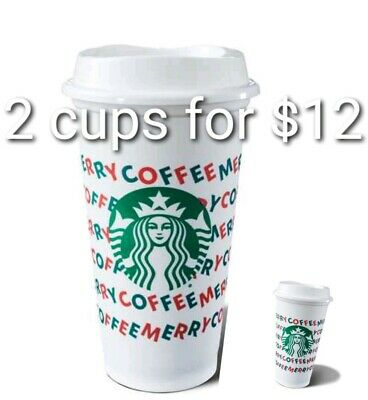 Starbucks 2019 Holiday Reusable Hot Cup 16 oz Plastic Cup 2 for $12