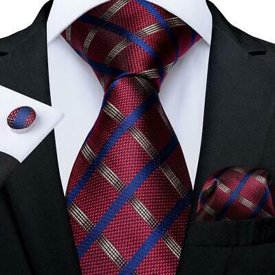Red Blue Gold Striped Mens Tie Set Silk Necktie Hanky Cufflinks Wedding Formal