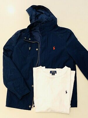 Ralph Lauren Boys Navy Jacket And Long Sleeve T-Shirt Excellent Condition Size L