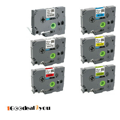 6pk 12mm  TZe-231 TZ531 TZe731 Label Tape Compatible for Brother P-Touch 6 Color