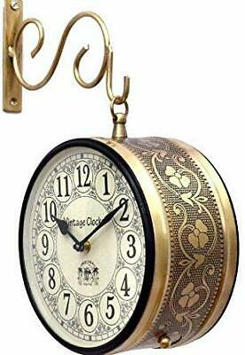 Vintage Clock Double Side (Railway Style) Clock/with Copper Finish Decor New