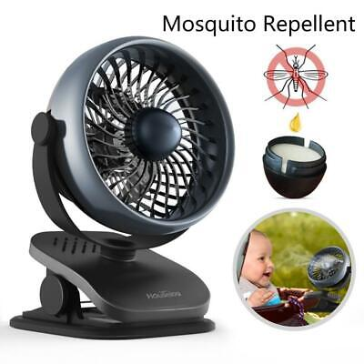Rechargeable Battery Operated Fan Quiet Clip On with Aroma Diffuser Black