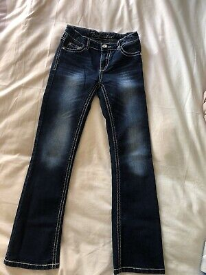 Girls Pure Western Bling Pocket Slim Leg Bootcut Bottom Jeans Size 12 Youth