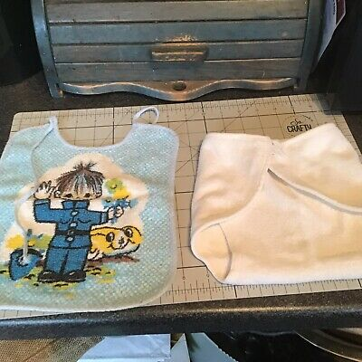 Vintage Baby's Cotton Bib And Nappy Cover 50s