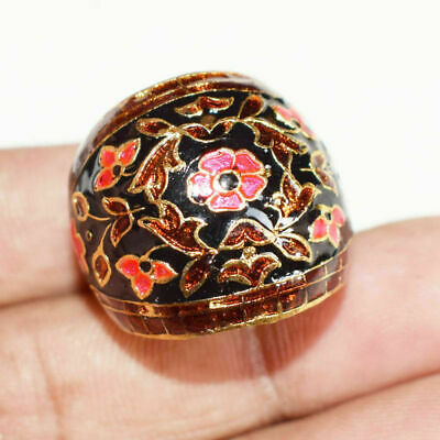 Handmade Multi-Color Enamel Unisex Ring With Adjustable Size Brass Plated