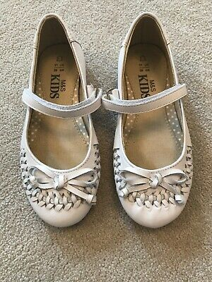 Girls Marks And Spencer White Leather Party Wedding Shoes Size 11