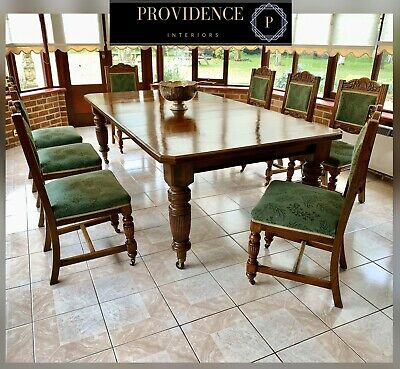 NOW RESERVED Fabulous Antique Oak Wind Out Dining Table & 8 Chairs 7ft 9/237cm