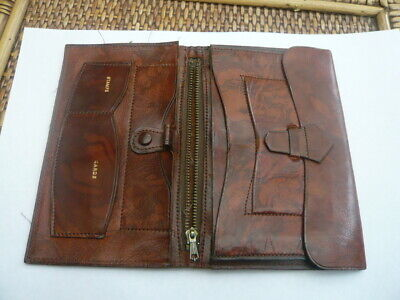 Vintage Old 1960,S Large Brown Leather Jacket Wallet Buffalo Calf To Restore
