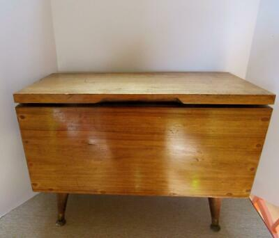 Large Mid Century Wooden Sewing Box