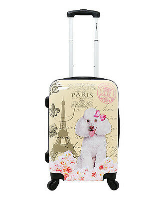"""CHARIOT Yellow Paris DOG POODLE HARDSIDE LUGGAGE SPINNER 24"""" CARRYON SUITCASE"""