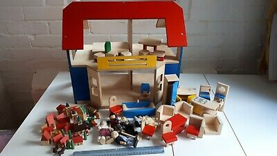 Wooden Dolls House With Accessories Furniture & Figures Kids Play Set Bundle