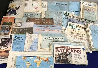 VINTAGE LOT OF 60+ NATIONAL GEOGRAPHIC & ETC MAPS FROM 50's & 60's FREE SHIPPING