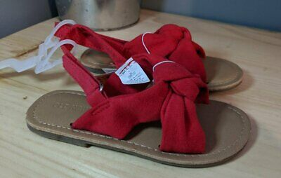 New Girls Toddler Old Navy Red Faux Suede Twist Strap Sandals Size 9