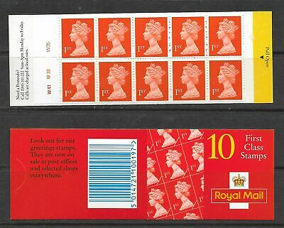 1995 HD22 LAMINATED WALSALL BOOKLET WITH 10 X 1st MACHINS CYLINDER W41 W30 W35