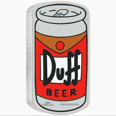 2019 Tuvalu THE SIMPSON'S - DUFF BEER Colorized 1oz .999 Proof Silver Coin