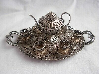 Antique Solid Silver Filigree Tea Serving Set,8 Pieces.