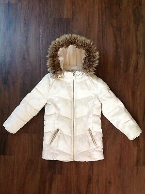 Girls River Island Cream Padded Coat with Faux Fur Lined Hood Age 4-5 Years