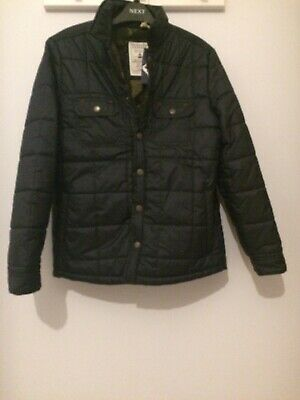 BNWT Boys Fat Face Black Quilted Jacket With Fleece Camo Lining Age 10-11 Years