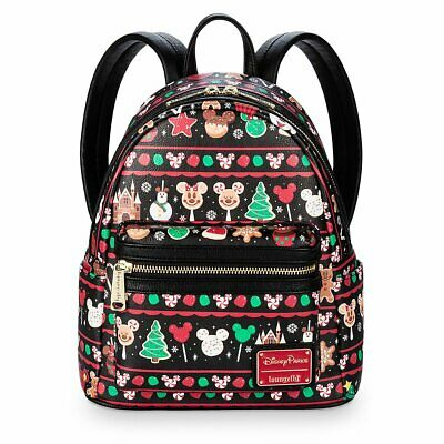 Disney Parks Christmas Holiday Snacks & Icons Loungefly Backpack 2019 BRAND NEW