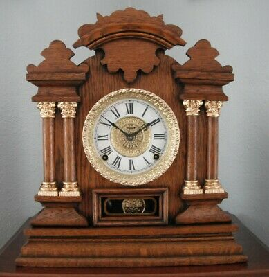 Old Antique Ingraham Oak Cabinet Mantel Shelf Clock 1905 Fully Restored