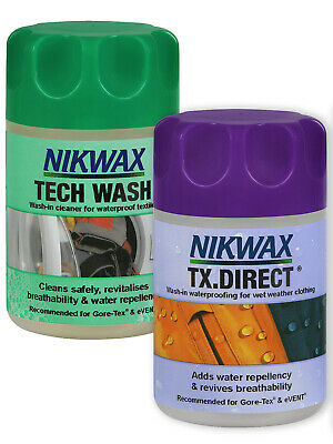 NEW Nikwax Aftercare Tech Wash 150ml Tx Direct 100ml - Combi Pack After Care