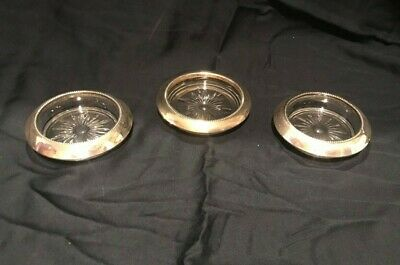 3 Vintage Sterling Silver Wine Champagne Bottle Coaster .925 Antique Silverplate