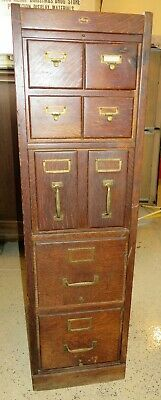 Rare Macey Tiger Oak Cabinet 4 Card Files, 2 Pocket Drawers And 2 Filing Drawers