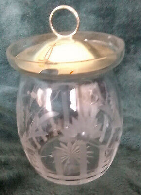 Antique Cut Glass Jam/Honey Jar with Sterling Silver Lid
