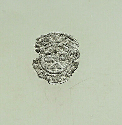 Medieval  Silver coin 15mm 0,35gr Uncertain Cross Crusaders ??