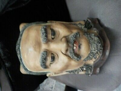 Rare Antique Handpainted & Glazed Oriental Statue,On Stand Poss. Mongolian