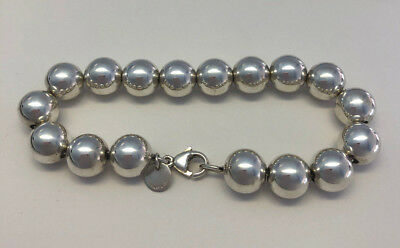 """Authentic Tiffany & Co 925 Sterling Silver 10Mm Bead Ball 7"""" Bracelet 18 Grams"""