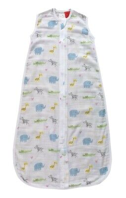Plum Cotton Muslin Sleeping Bag 0.5 Tog Zoo Animal 24-36 Months