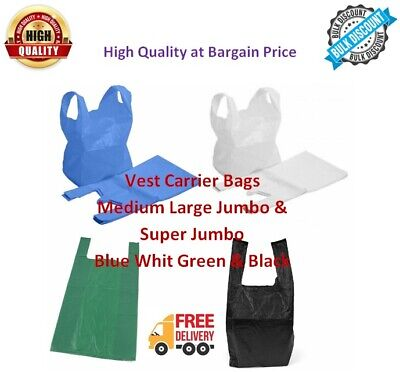 VEST CARRIER BAGS PLASTIC POLYTHENE SHOPPING Bag Blue White Green Black all size