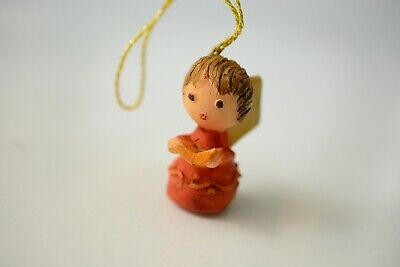 Antique German Wax Christmas Decoration for Tree Ornament Angel Erzgebirge