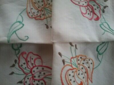 VINTAGE EMBROIDERED TABLECLOTH          Tiger Lillies.