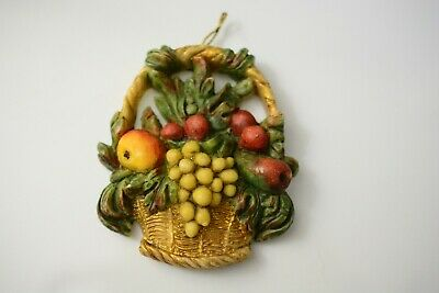 Antique German Wax Christmas Decoration for Tree Ornament Basket with Fruits