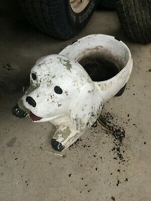 vintage large  'dog' concrete garden ornaments planter