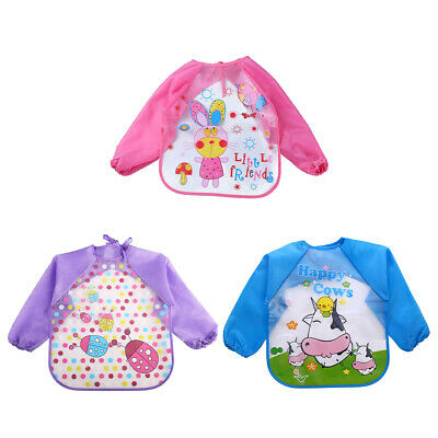 Children Waterproof Long-sleeved Bibs Anti-dressing Feeding Apron Overclothes AU
