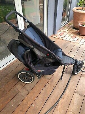 phil&teds 3 wheel double stroller pram grey and blue