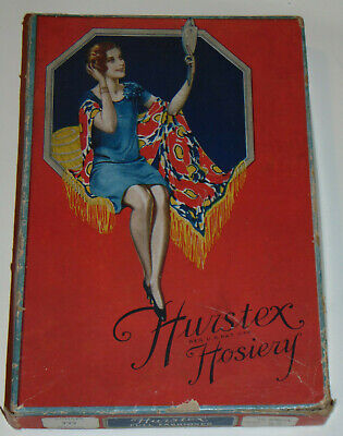 VINTAGE 1920s WOMEN'S STOCKING BOX WITH FLAPPER! EMPTY! HOSIERY! BRIGHT COLORS!