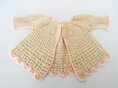 Vintage Girls Sweater Hand Crafted Pink Creme Knit Crochet Baby Doll Dress Coat